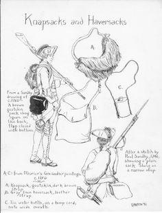 Knapsacks and Haversacks by OrlopRat.deviantart.com on @deviantART - Infographic on 18th century knapsacks and haversacks in the British Army.