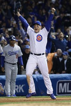 Anthony Rizzo #44 of the Chicago Cubs celebrates after defeating the Los Angeles Dodgers 5-0 in game six of the National League Championship Series to advance to the World Series against the Cleveland Indians at Wrigley Field on October 22, 2016 in Chicago, Illinois.