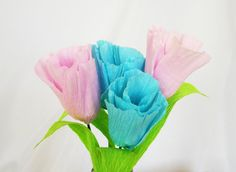 Paper Tulips Pink Tulips Home Decor Spring Floral by FioriBelle
