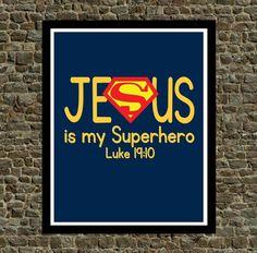 Super Hero Wall Art - Jesus is my Superhero - Christian Wall art Superman Nursery Decor
