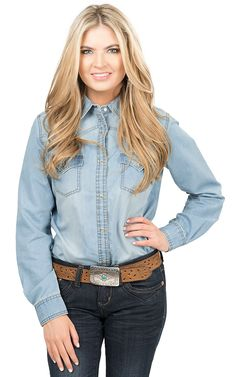 Wrangler Women's Light Wash Denim Long Sleeve Western Snap Shirt   Cavender's