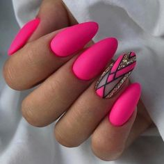 Want some ideas for wedding nail polish designs? This article is a collection of our favorite nail polish designs for your special day. Matte Pink Nails, Bright Pink Nails, Hot Pink Nails, Yellow Nails, Fancy Nails, Cute Nails, Hot Pink Pedicure, Bright Colors, Trendy Colors