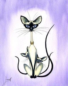 SIAMESE ORIENTAL CAT KITTEN ART PRINT 6214 Dianne Heap #Realism