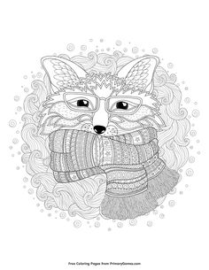Winter Coloring Pages eBook Winter Fox is part of home Illustration Free Printable - Free printable Winter Coloring Pages eBook for use in your classroom or home from PrimaryGames Print and color this Winter Fox coloring page Fox Coloring Page, Coloring Pages Winter, Free Adult Coloring Pages, Christmas Coloring Pages, Animal Coloring Pages, Free Printable Coloring Pages, Coloring Book Pages, Coloring Sheets, Fall Art Projects