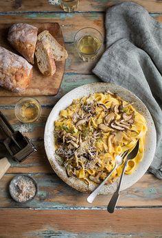 Tagliatelle with roasted butternut & mascarpone sauce and pan fried mushrooms recipe #italian #pasta #recipe