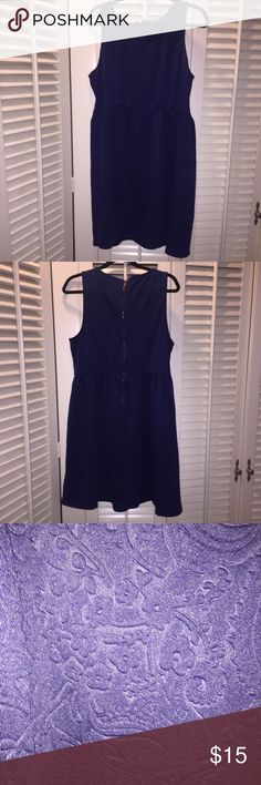 Navy blue imprinted dress Soft thick material, zip up back enclosure Forever 21 Dresses Mini