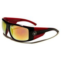 Biohazard Mens Shield Thick Arms Sunglasses Black and Red with Orange Revo Lens Red Sunglasses, Lens, Orange, Black, Black People, Klance, Lentils