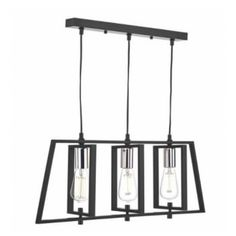 A modern 3 light ceiling bar pendant with an industrial feel in a matte black finish with brightly polished chrome lampholders. The frames surrounding the lampholders can be adjusted for a unique look. We love this in a kitchen or over a rustic dining table. The suspension can be adjusted at the point of installation to suit most ceiling heights.