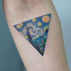 Starry Night Vincent van Gogh triangle tattoo Love this for an album cover! Pretty Tattoos, Cute Tattoos, Beautiful Tattoos, Tattoos For Guys, Tattoos For Women, Awesome Tattoos, Unique Tattoo Designs, Design Tattoo, Unique Tattoos