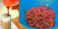 Jello worms. Such a great idea. Looks like two different reds were used. Rubberband about 50 straws. Set in a tall glass. Pour jello over straws to fill. Refrigerate. Use an exacto knife to open straws longways.