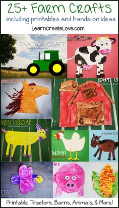 Farm Crafts Round-Up AMAZING! For my boys who are disinclined towards arts and crafts. Daycare Crafts, Classroom Crafts, Kindergarten Art, Preschool Crafts, Farm Animal Crafts, Farm Animals, Art For Kids, Crafts For Kids, Farm Unit