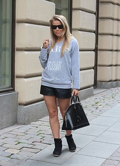 5b1dbf46f47 Wedge sneakers with leather shorts and grey fleece.