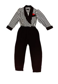 Vintage 1980s JSJ Striped Jumpsuit by John Roberts. Very Sexy striped black & white deep VNeck bodice with tailored black bottoms. Cuffed 3/4 Sleeve.