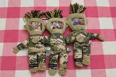 military dolls with kid and parent pics as faces - daddy dolls