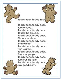 teddy bear nursery - I think my little brother use to sing this Teddy Bear Crafts, Baby Teddy Bear, Knitted Teddy Bear, Teddy Bear Baby Shower, Teddy Bear Picnic Song, Teddy Bears Picnic Party, Bears Preschool, Preschool Songs, Teddy Bear Nursery