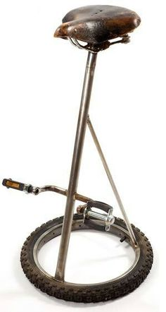 Bar stool from old bicycle parts