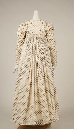 Dress, 1797-98, French, cotton, flax, Dimensions: Length at CB (a): 7 1/2 in. (19.1 cm) Length (b): 43 1/2 in. (110.5 cm)