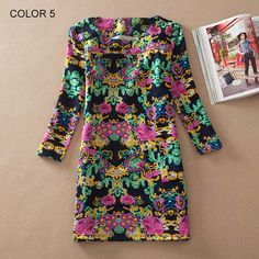 2016 Floral Vintage Women Dress Autumn Spring Casual Female Pocket Long Sleeve Dresses Plus size Dress vestidos longos robe Vestidos Vintage, Vintage Dresses, Plus Size Dresses, Cute Dresses, Women's Dresses, Dresses 2016, Sleeve Dresses, Casual Dresses For Women, Clothes For Women