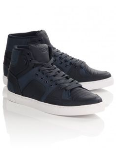 975fb57f0726 Men's lace-up high-top trainers in navy with mixed panelling design, padded  opening and double eyelet detailing.