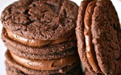 Chocolate Malt Sandwich Cookies -- try cookie in homemade oreo recipe as an alternative to cake mix version Food: Dessert: Cookies & Bars (CTS) Easy Cookie Recipes, Sweet Recipes, Baking Recipes, Dessert Recipes, Yummy Cookies, Yummy Treats, Sweet Treats, Yummy Food, Chocolate Malt