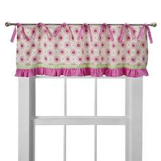 Valance idea---main fabric with ruffle, ribbon trims