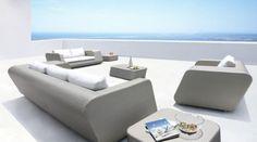 Chic Modern Morocco Six Piece Silver Rattan Patio Sofa Set Contemporary Design