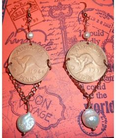 ANTIQUE AUSTRALIA 1940'S 1 PENNIES WITH COIN PEARLS AND PEARLS http://www.thesoulshoppe.com/earrings/1303-antique-australia-1940-s-1-pennies-with-coin-pearls-and-pearls.html