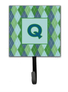 Letter Q Initial Monogram - Blue Argoyle Leash Holder or Key Hook