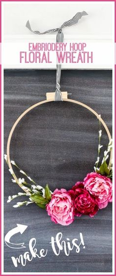 Bathroom Zen Decor how to make your own Floral Embroidery Hoop Wreath - Sugar Bee Crafts Crafts To Make And Sell, How To Make Wreaths, Mason Jar Crafts, Mason Jar Diy, Diy Interior, Diy Holiday Gifts, Bee Crafts, Diy Wreath, Wreath Ideas