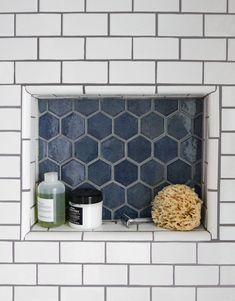 8 Things I Learned During My Bathroom Tile Renovation Blue Hexagon Tile Shower Niche Tile Shower Niche, Bathroom Niche, Bathroom Interior, Bathroom Tile Showers, Bathroom Remodeling, Bathroom Ideas, Subway Tile In Shower, Blue Bathroom Tiles, Tile For Small Bathroom