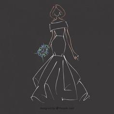 Boceto dibujado a mano de vestido de novia Vector Gratis