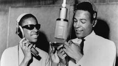 Stevie Wonder and Marvin Gaye in the studio