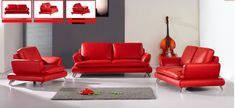 Modern Luxury Sofa Loveseat and Chair - Italian Red Leather Sofa Set for the Living Room 7997 Red Sectional Sofa, Leather Sofa And Loveseat, Sofa And Loveseat Set, Leather Sofa Set, Sofa Couch, Red Sofa, Red Leather, Sofas, Italian Leather Sofa