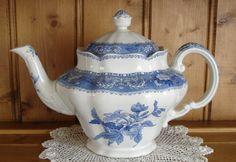 Such a beautiful teapot Spode Blue Transferware Camilla Vintage Tea by LisettesTeaParty.