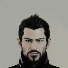 Adam Jensen face design. I love his hair so much. It looks soft