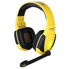 Gilumza Kotion Each USB Stereo Gaming Headphone Headset Headband with Microphone Volume Control LED Light for Pc Game (Black & Yellow) Best Studio Headphones, Headphones For Ps4, Xbox One Headset, Headphones With Microphone, Headphone With Mic, Wireless Headset, Bluetooth Headphones, Game Remote, Game Black