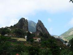 The twin mountain in Hermigua, La Gomera, Canary Islands, Spain.