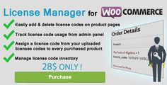 License Manager for Woocommerce by codemypain License Manager for Woocommerce 5.3 Compatible with WooCommerce 3.0  and previous releases ! .License Manager for Woocommerce is a Woocommerce extension that adds the functionality of managing license codes to Woocommerce.This pl