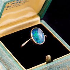 Antique Vintage Art Nouveau 14k Gold Black Australian Opal Estate Ring! Sz 6   Jewelry & Watches, Vintage & Antique Jewelry, Fine   eBay!