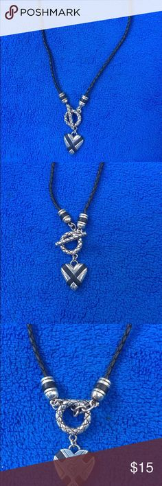 "Nice BRIGHTON Braided Leather Heart  Necklace, Nice BRIGHTON Braided Leather Heart  Necklace, made of black leath and a silver heart pendant. It keasure 18"" long, in very good condition! Brighton Jewelry Necklaces"