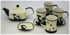 Hues & Brews 9 Piece Cattitude Teapot, Mugs & Coasters Set - Ivory, Hand-painted Hues & Brews