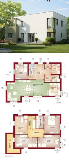 Einfamilienhaus Architektur klassisch mit Satteldach und Erker Anbau - offene kuche wohnzimmer grundriss