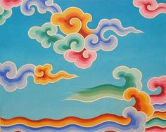 This cloud pattern is found throughout Buddhist imagery, from thangka paintings to carpets to wall hangings. Detailed pattern forged from beautiful Hill Tribe silver pure). Cloud Drawing, Cloud Art, Korean Art, Asian Art, Cloud Pattern, Motif Oriental, Thangka Painting, Little Buddha, Art Asiatique
