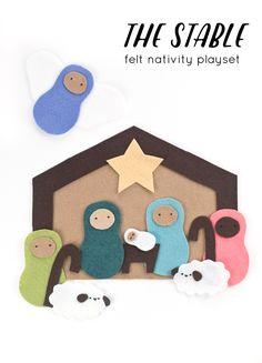the stable // felt nativity playset // wild olive