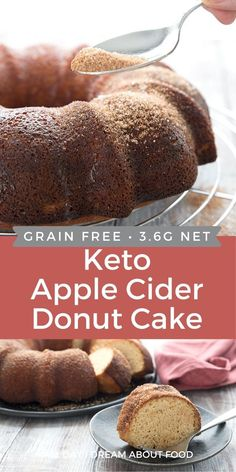 This tender keto apple cake has all the delicious flavor of an apple cider donut. Dusted with cinnamon and sweetener, it's a perfect low carb fall dessert. Mini Desserts, Sugar Free Desserts, Fall Desserts, Low Carb Sweets, Low Carb Desserts, Low Carb Donut, Pumpkin Recipes, Fall Recipes, Gateaux Vegan