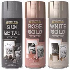 Details about Rust-Oleum Metallic Finish Spray Paint Gun Metal Rose Gold White Gold Spray Paint Colors, Metallic Spray Paint, Glitter Paint, Spray Paint Metal, Gold Painted Furniture, Spray Paint Furniture, Painting Furniture, Rose Gold Painting, Spray Painting