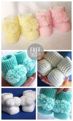 icu ~ Pin on Crochet: Baby/child ~ Baby Booties Crochet Free Pattern Knit Baby Booties, Booties Crochet, Crochet Baby Shoes, Crochet Baby Clothes, Crochet Slippers, Baby Slippers, Slipper Socks, Crochet Hats, Baby Booties Knitting Pattern