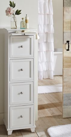 Maine Narrow tall Freestanding Bathroom Cabinet with 6 drawers for ...