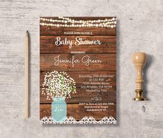 rustic baby shower invitation printable mason jar baby shower invite instant download editable pdf