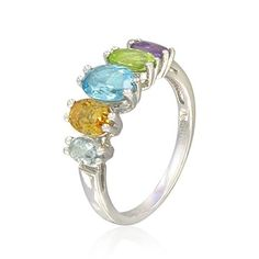 Sterling Silver Oval-Shaped Amethyst, Aquamarine, Blue Topaz, Citrine, and Peridot Ring > Price: $46.53 > Sale: $29.00 > Click on the image for details and offers.
